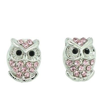 Owl Pink Earrings Made With Swarovski Crystal Smart Wise Stud Jewelry Gift