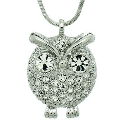 5f1398cf7f8a w Swarovski Crystal ~Purple Owl on Moon Hoot Bird Halloween Charm Chain  Necklace