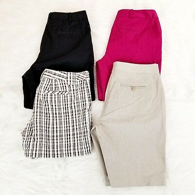 4 PC Lot of Womens Bermuda Walking Shorts Size 4 Plaid, Solid, Striped Stretch