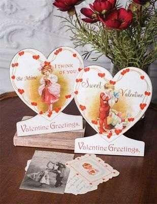 Victorian Trading Co Valentine Greeting Boy & Girl Easel Pairs