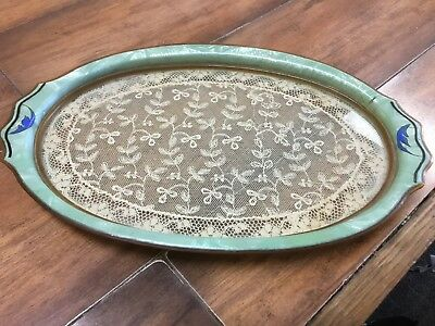 Antique Celluloid/Bakelite Oval Dresser Tray with Lace Insert