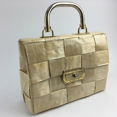 Vintage Wicker Handbag RITTER 'It's in the Bag' Purse Woven Rattan ITALY Gold