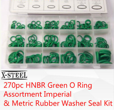 270pc HNBR Green O Ring Assortment Imperial  & Metric Rubber Washer Seal Kit