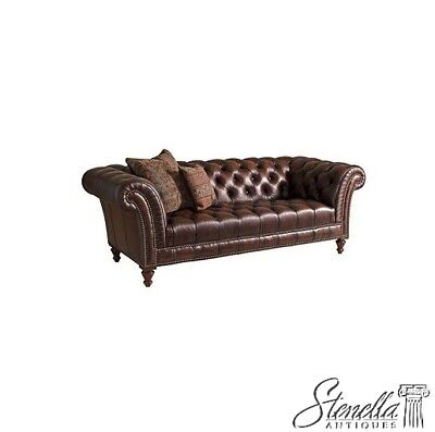 L42568: HENREDON #7753 Tufted Black Leather Chesterfield Sofa ~ NEW
