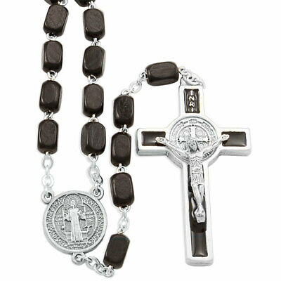 St. Benedict Rosary with Rectangular Wooden Beads