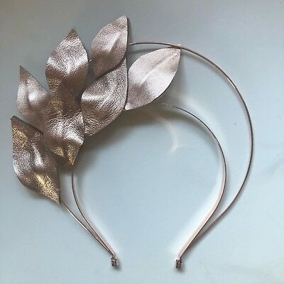 Fascinator - Metallic Rose Gold Leather Leaves Halo Headband