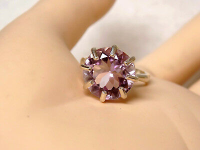 NATURAL 13mm 7ct purple amethyst 925 sterling silver ring size 8 USA made