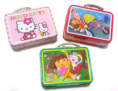 SpongeBob, Hello Kitty and Dora the Explorer Mini Tin Lunchboxes, Set of 3