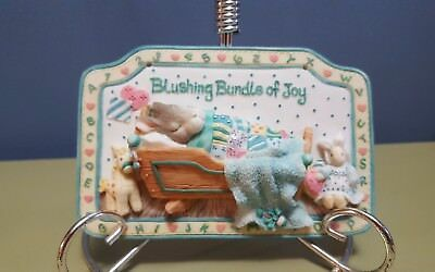 1997 Enesco My Blushing Bunnies Bundle of Joy Sleeping Babby Rabbit Wall Plaque