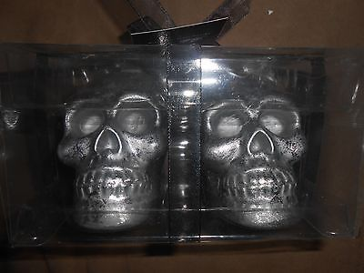 Halloween Set of 2 Silver Skeleton Skull Candles 4 inches tall New by Bella Lux