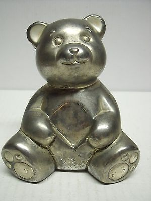 Vintage Lenox silver teddy bear bank