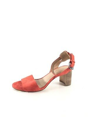 8b417f308823 U1 NEW Madewell The Claudia Red Suede Ankle Strap Heel Sandal Women s Sz 6 M