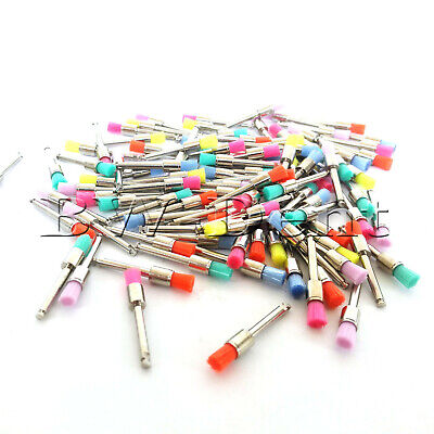100 PCS New Mixed Color Nylon Latch Flat Dental Polishing Polisher Prophy Brush
