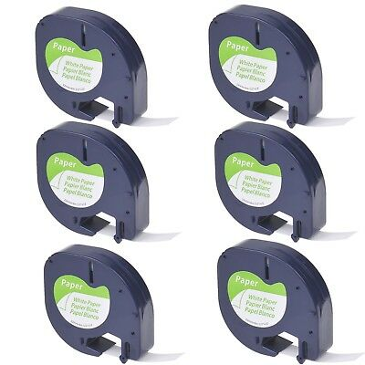 6PK Paper Label Tape for DYMO Letra Tag LT100H LT 91330 Black on White 12mm