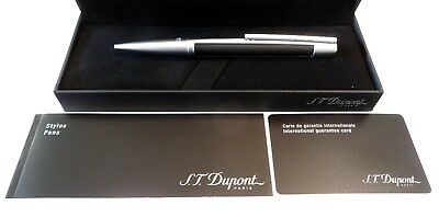 S. T. Dupont Defi Matte Black And Brushed Chrome Ballpoint Pen - New In Box