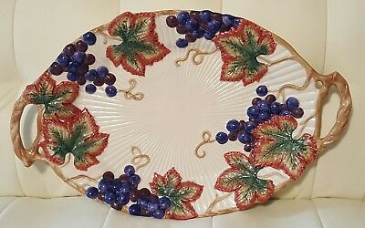 Fitz and Floyd Autumn Fall Serving Tray leaves grapes harvest