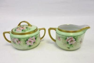 Antique G.V.L. Germany Porcelain Cream and Sugar Dishes Mint Green Pink Flowers