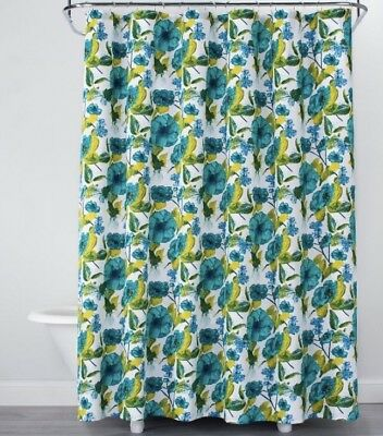 OPALHOUSE GREEN FLORAL Print Cotton Fabric Shower Curtain Lime Vibrant Nwop