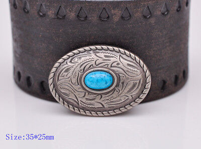 10pcs 35×25MM Oval Silver Turquoise Bead Floral Engraved Conchos Decor Screwback