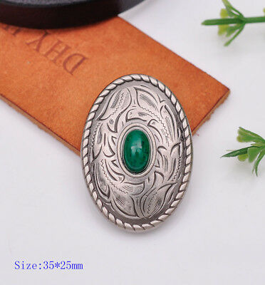 10pcs 35×25MM Oval Silver Green Bead Floral Engraved Conchos Decor Screwback