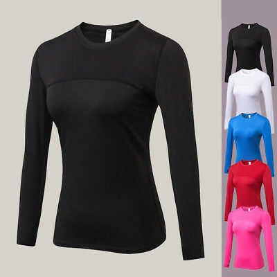 Women Yoga Sports Compression Tops Ladies Long Sleeve Base Layer Jogging Gym Tee