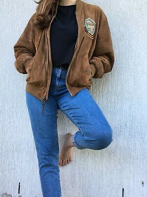 VINTAGE Chevignon Genuine Leather/Suede Tan Bomber Flying/Biker Jacket - Size M