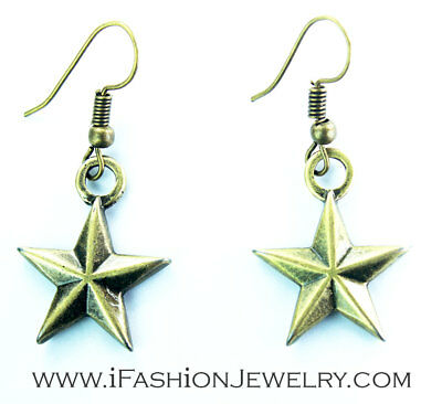 Bronze 5 Point Natal Star Sign Metal Hook Dangle EARRINGS Gothic Fashion Jewelry