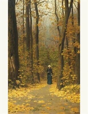 Victorian Trading Co Woman Walking Forest Print Vasili Dimitrievich Povenove