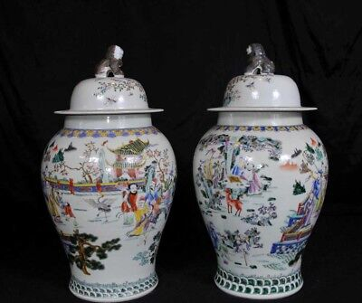 Pair Chinese Qianlong Ginger Urns Vases Jars Qing Pottery Porcelain