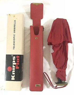 Vintage Knirps Telescopic Umbrella Red With Original Box And Carry Case
