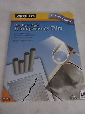 Apollo OHP PP100C Plain Paper Copier Transparency Film 20/Pack free post