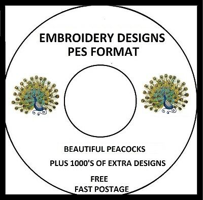 Peacocks Embroidery Designs Pes Format Buy 2 Cds Get A Free Font Cd