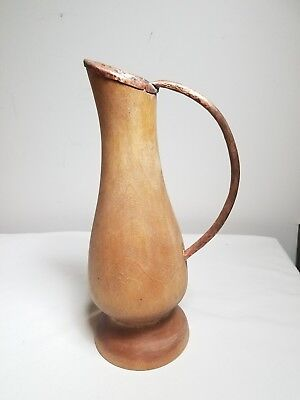 Vintage Hand hammered Copper Lined Wooden Pitcher Rustic Hand Made Primitive