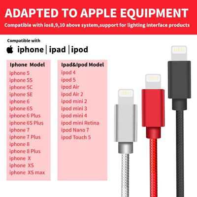 Lightning Cable 3/6/10FT Charger Cord Heavy Duty for Apple iPhone 7 6s Plus 8 XS