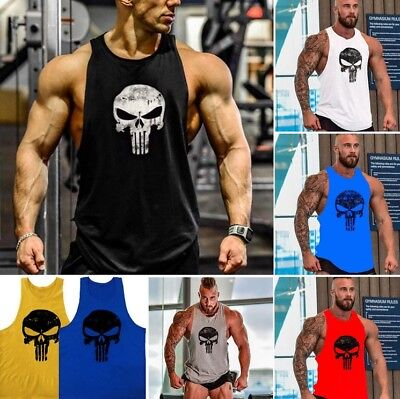 The Punisher Men Gym Singlet Bodybuilding Fitness Tank Top Vest Sleeveless Shirt