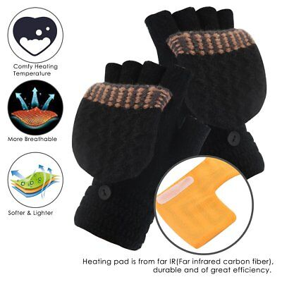Men Women Electric USB Rechargeable Heated Gloves Winter Warm Knit Thermal Glove