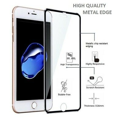 For Apple iPhone 8 Plus Tempered Glass Screen Protector - METAL EDGE!!