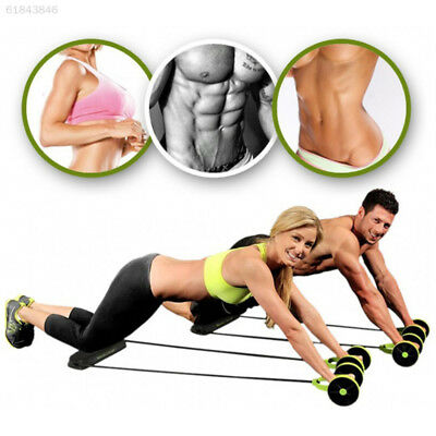42A4 Dual Wheels Roller Sports Elastic Abdominal Resistance Pull Rope Belly Exer