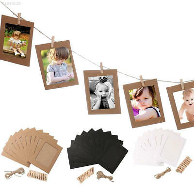 A4E8 10 Set Vintage Paper Photo Frame Wall Picture Hanging Rope Clip Creative