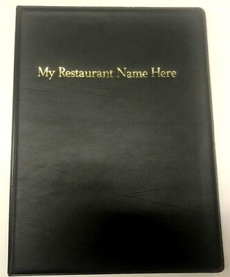chord QTY 20 A4 MENU FOLDERS IN PVC WELDED BLACK- YOUR RESTAURANT NAME PRINTED