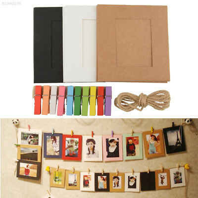 D3CE 10X Paper Photo Frame DIY Picture Hanging Album Gallery With Rope Line Clip