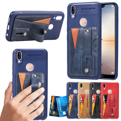 Leather Wallet Case Credit Card Slot Holder Back Cover For Huawei P20 Pro Lite