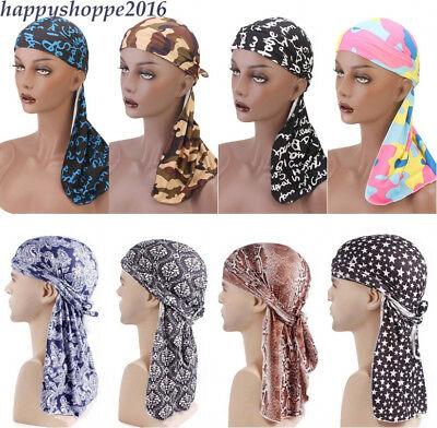 Men's Durag Bandana Sports Du-Rag Scarf Head Rap Tie Down Band Biker's Cap