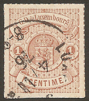 LUXEMBOURG 1865/74: 1c brown rouletted in colour (used)