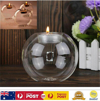 8CM Crystal Glass Round Candle Tea Light Holder Candlestick Home Party Decor