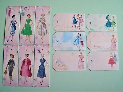 Vintage 1940s 1950s Dress Rockabilly Pin up Luggage Price Tags/Cards Labels