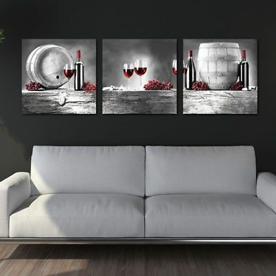 Red Grape Wine Barrel Bottle Goblet In Black White Red Wine Canvas Painting 3pcs