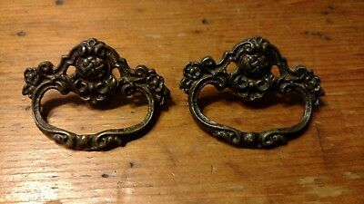 Set of 2 Vintage Antique Ornate Fancy Cast ? Brass Drawer Pulls Parts - H602