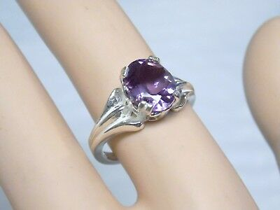 NATURAL 10x8mm 2.50ct purple amethyst 925 sterling silver ring size 6.5 USA made