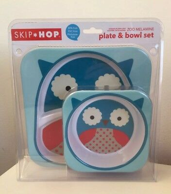 Skip Hop Zoo - Toddler Kids Children Owl Melamine Plate & Bowl Set Brand New